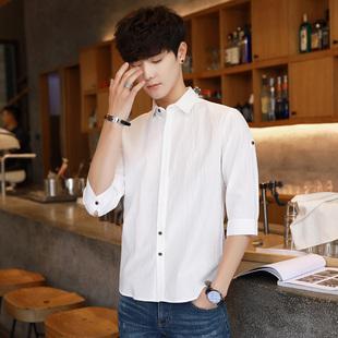 (领券下单76元)夏季七分袖男装衬衫韩版短袖棉麻薄款男白衬衫
