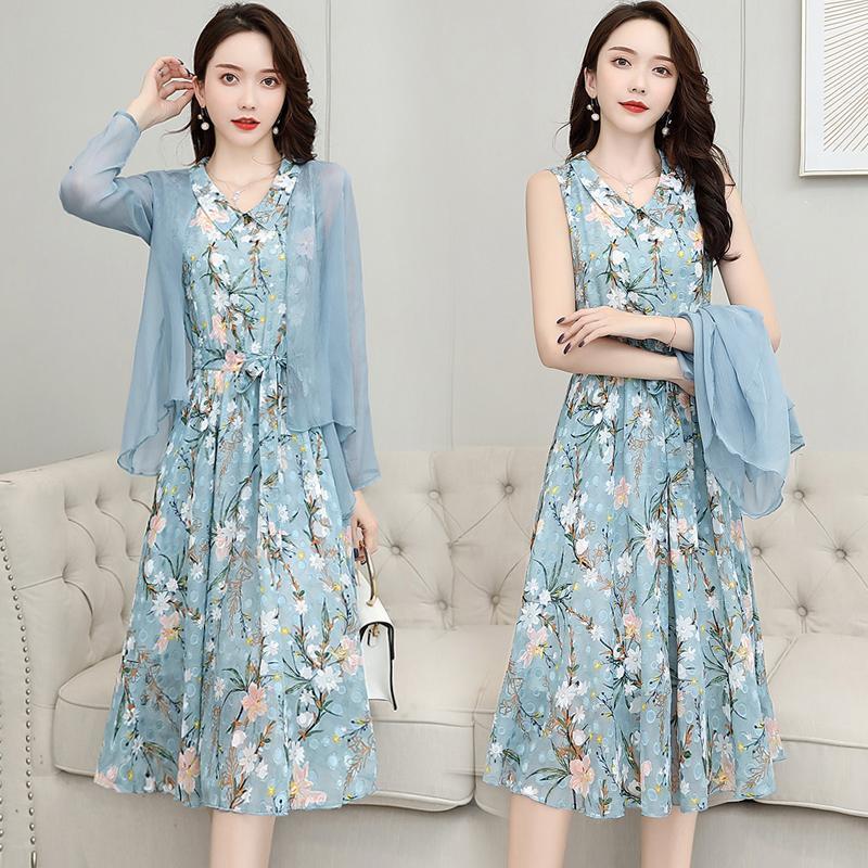 【两件套】雪纺连衣裙女遮肚韩版夏季女装2021新款潮长裙套装裙子