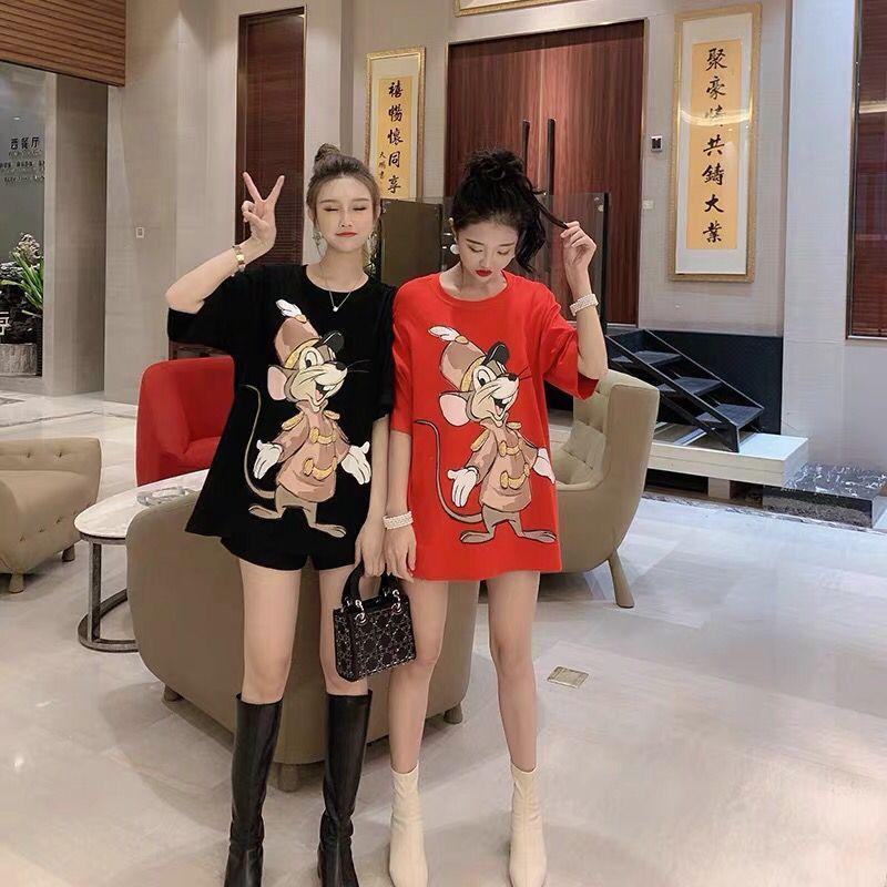 纯棉中长款2020春夏新款网红重工老鼠短袖T恤女韩版宽松百搭半