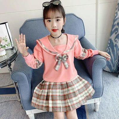 女童秋装套装2021年新款儿童洋气学院风长袖格子裤时髦女孩两件套