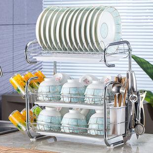 沥水碗架刀架厨房神器收纳置物架落地蔬菜架碗碟架橱柜整理架用品
