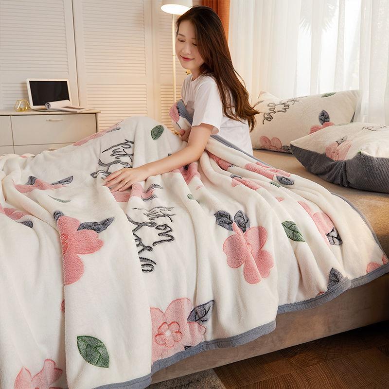 珊瑚绒毛毯子床垫法兰绒盖毯秋冬天床单铺床加厚保暖午睡被学生