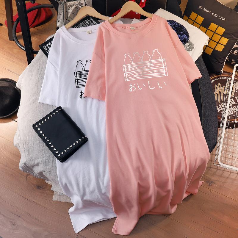 大码女装2021夏季中长款短袖t恤长裙