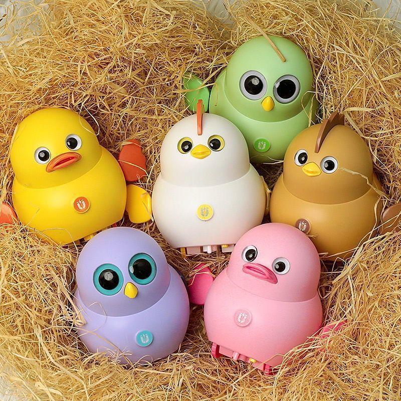 抖音同款儿童电动摇摆小鸡小黄鸭玩具磁性跟随小分队可充电女孩