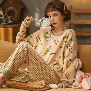 秋季针织棉质女士长袖长裤睡衣创意款女式套头家居服套装
