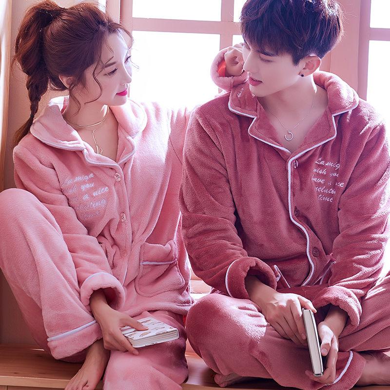 情侣装家居服睡衣�K男女套装加厚法兰绒珊瑚绒秋冬季韩版日系� 可外穿