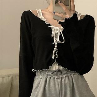 【立减100】超火波浪边系带小开衫上衣女