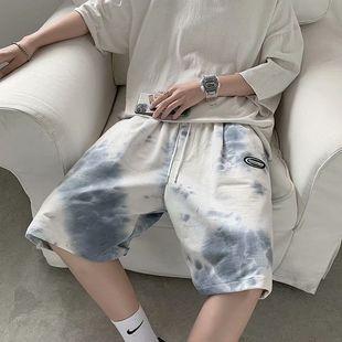 扎染运动短裤男宽松潮流中裤夏季薄款外穿