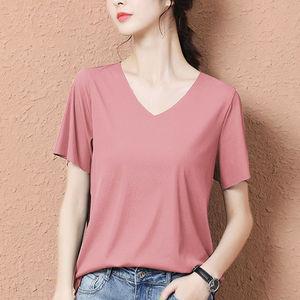 新款冰丝短袖t恤春夏季纯色女2021薄款
