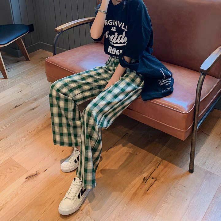 格子裤女夏季2021新款韩版日系宽松显瘦