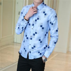 尊蓝风男士秋季韩版小清新长袖衬衫日系印花衬衣B262-C80-P22
