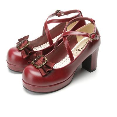 taobao agent Japanese pseudo-girl lolita lolita high-heeled round head detachable bow LO performance women's singles shoes extra large
