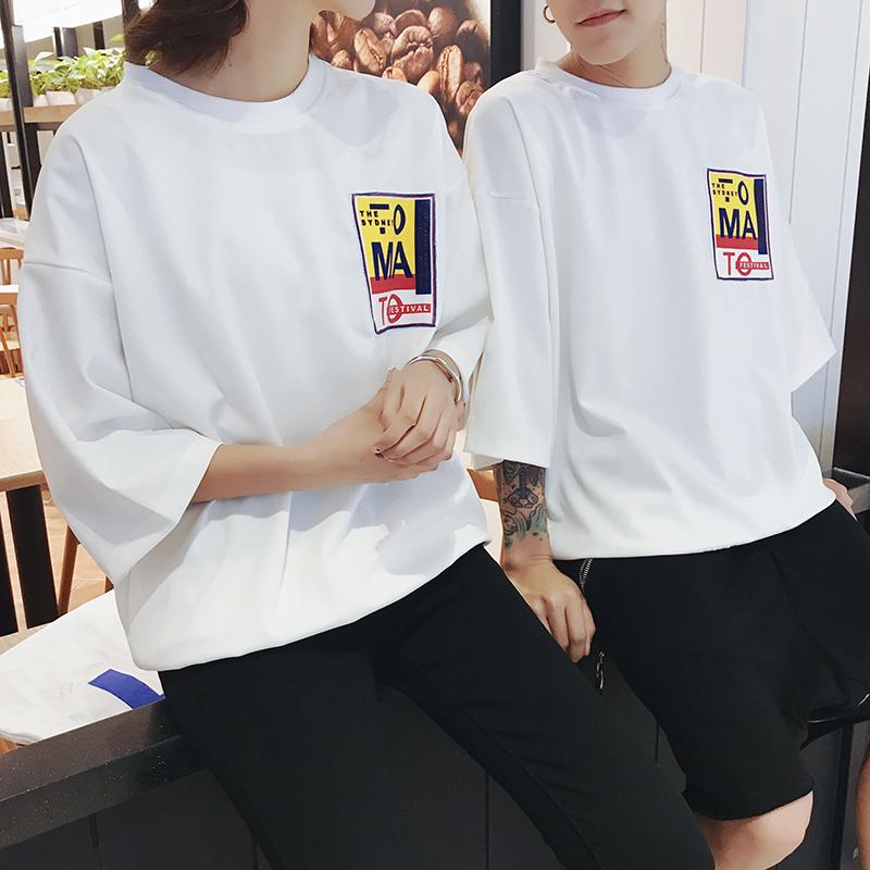 2018港风夏季新款休闲时尚男女情侣时尚短袖T恤外套102BT8206P35