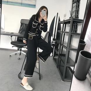 女chic小香风淑女港味阔腿九分裤两件