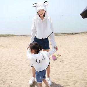 Cha mẹ và con trẻ em kem chống nắng quần áo thoáng khí bãi biển mùa hè 2018 mới chống uv đi xe đạp khăn choàng bé áo