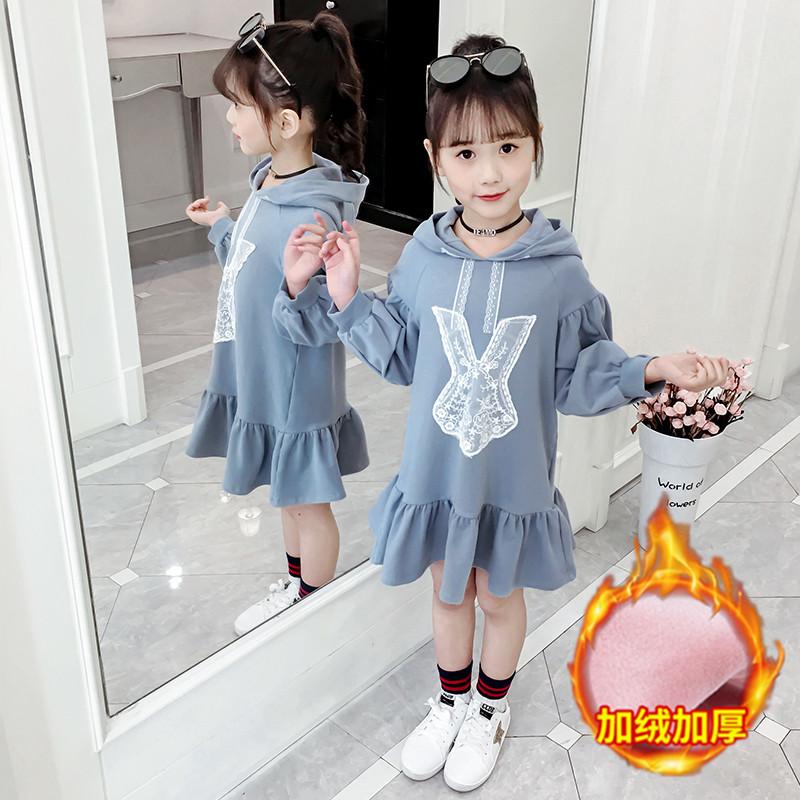 2019新款女童秋冬加绒卫衣裙儿童洋气可爱兔子卫衣时髦网红连衣裙