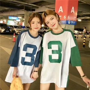 实拍实价 夏季韩版绿色蓝色宽松拼接撞色数字3短袖T恤