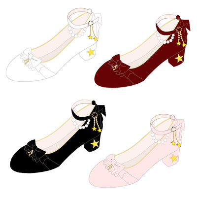 42agent [Star music song] original soft sister Lolita lolita Japanese sweet stars pearl bow women's shoes - Taobao