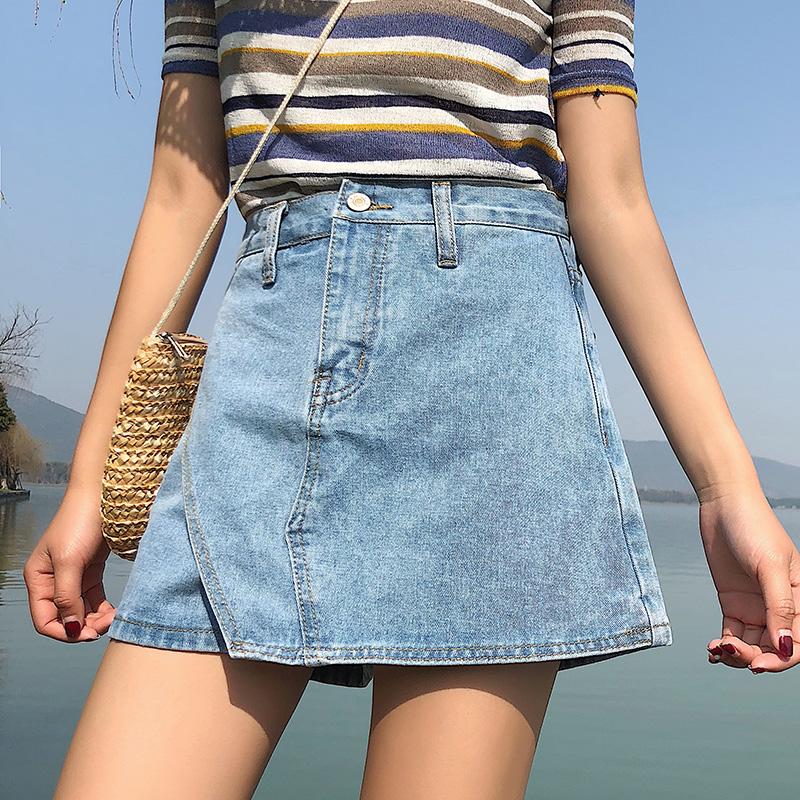 2019夏新款网红牛仔短裤女裙裤高腰百搭学生阔腿a字半身短裙热裤