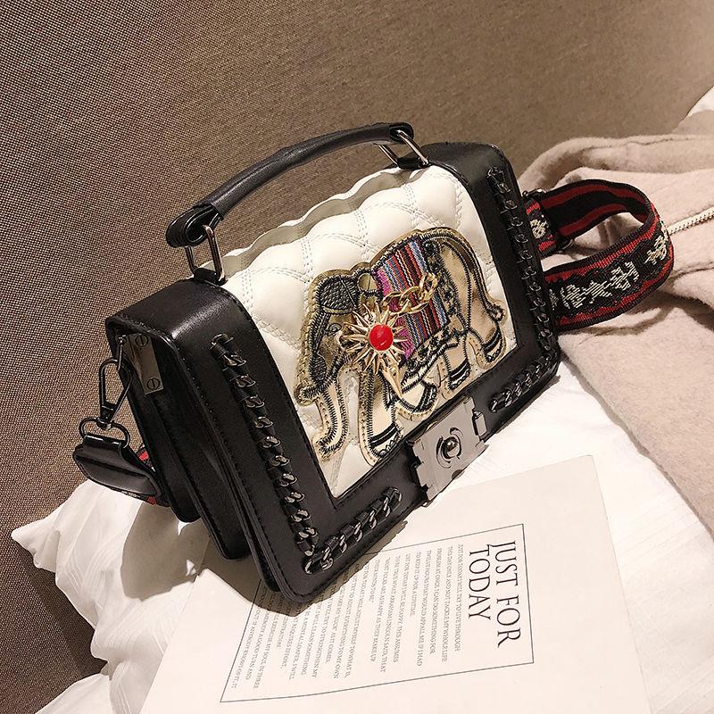 小包包女2021新款潮韩版百搭时尚大象刺绣手提包宽带小方包斜挎包
