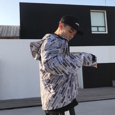 Mùa xuân Hàn Quốc ulzzang áo khoác Harajuku cổng gió thanh niên lỏng áo khoác trùm đầu áo gió cặp vợ chồng với cùng một chiếc áo khoác Áo gió