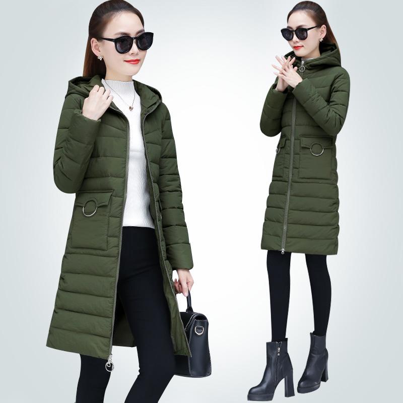 Chống mùa bông phụ nữ phần dài sinh viên Hàn Quốc mùa đông dày mỏng bông áo khoác nữ 2018 mới áo khoác mùa đông nữ