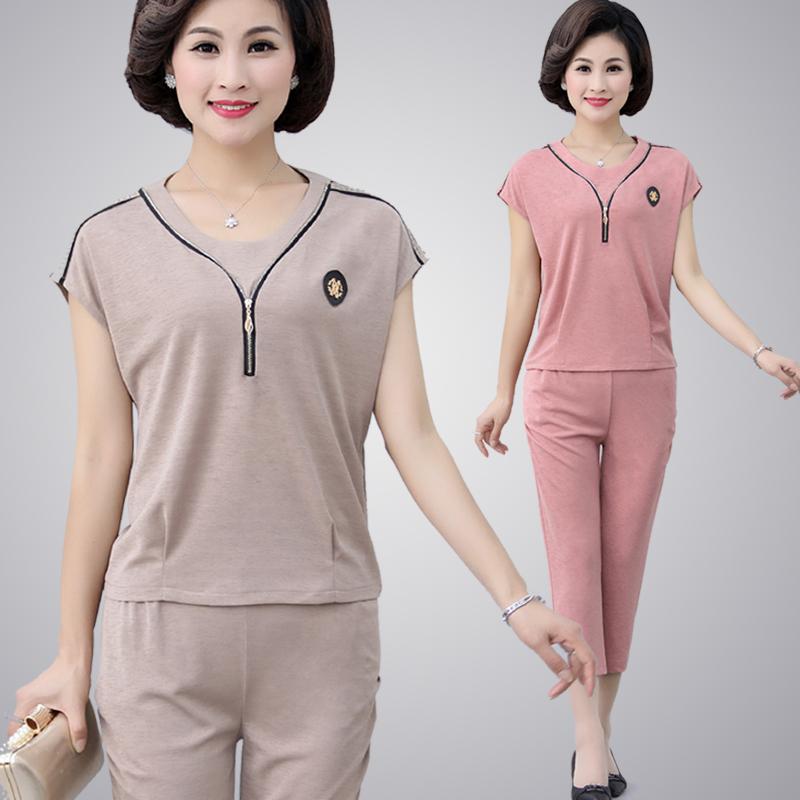 Mùa hè trung niên của phụ nữ ngắn tay t-shirt hai mảnh trung niên mẹ thể thao phù hợp với loose 40-50-60 tuổi