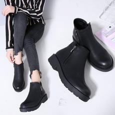 2019秋冬季新款女靴时尚百马丁靴厚底切尔西短靴3638-5