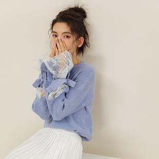 2018秋装针织衫女清新甜美蕾丝拼接喇叭袖绑带宽松学生套头毛衣