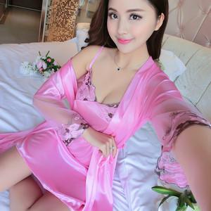 Đồ ngủ sexy nữ mùa hè mặc quần áo người nóng có thể mặc người lớn mỏng phần sao sexy nightdress băng lụa hai mảnh phù hợp với