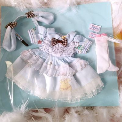 taobao agent 2 sets of free shipping in stock】bjd holala1/4 large 6 points doll clothes blue rabbit dress giant baby cloth 3 points