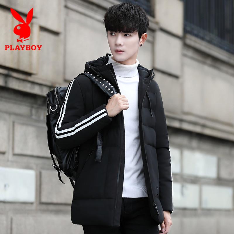 男士外套冬季花花公子中长款男款青年棉衣韩版修身短款加厚棉服