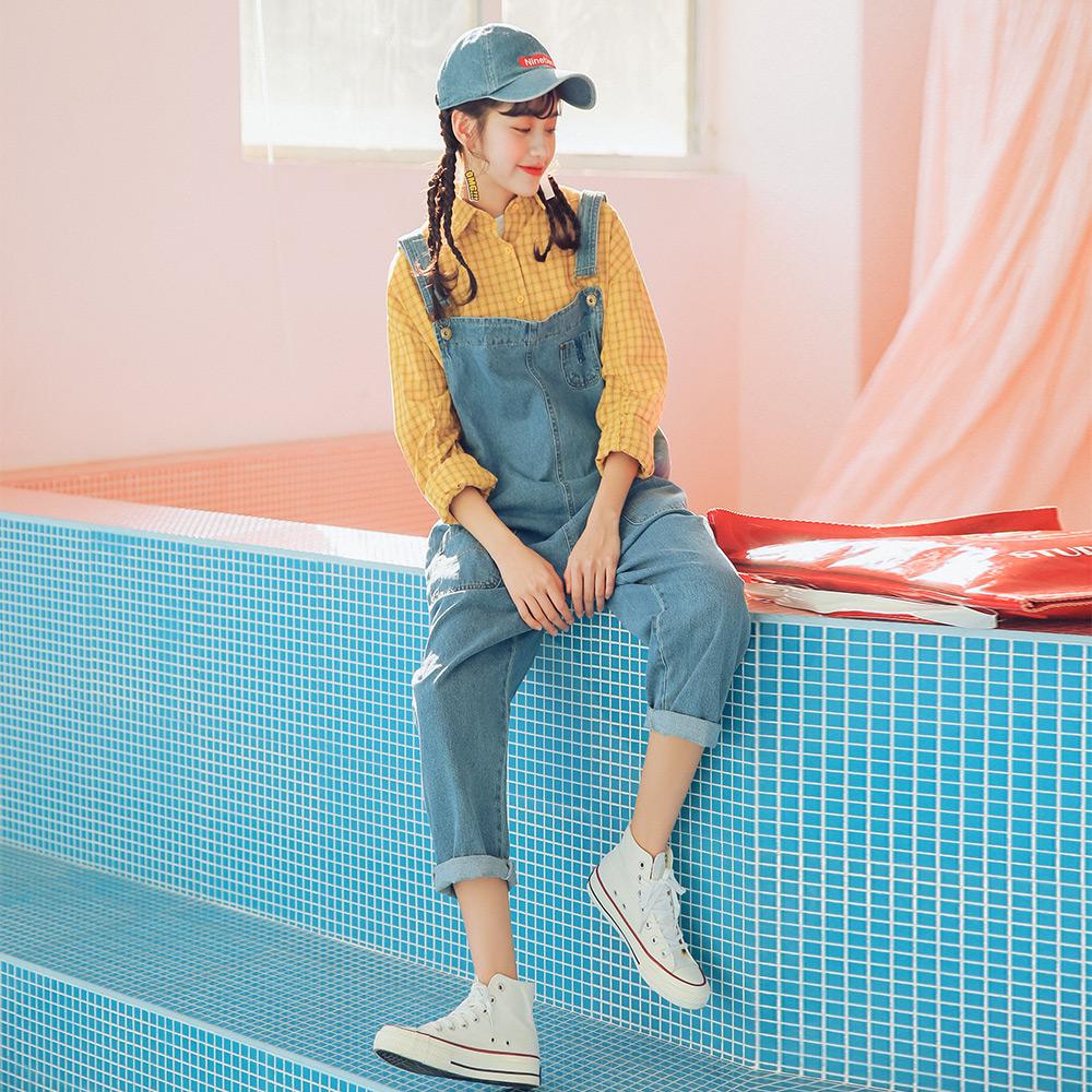 实拍5839# 春季新款 韩版连体宽松大口袋牛仔背带长裤