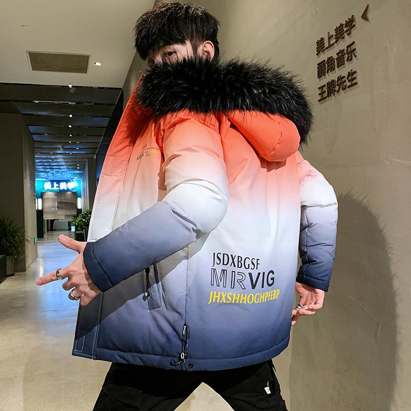 Áo khoác cotton học sinh nam khoác lông mùa đông dày len ấm cổ áo khoác cotton xu hướng Hàn Quốc đẹp trai cá tính áo khoác - Trang phục Couple
