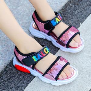女童凉鞋2019夏季新款百搭亮片公主鞋中大童沙滩鞋小学生小熊凉鞋