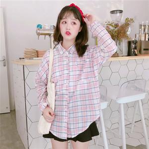 實拍9010#新款韓版格子襯衫女開衫寬松學生長袖薄款防曬衫上衣