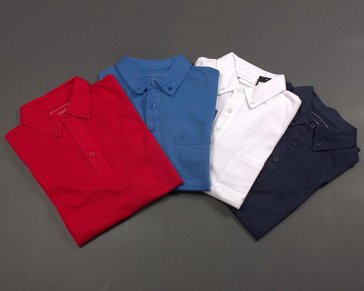 300 kg kinh doanh đơn giản lưới thoáng khí màu rắn hạt bông cao cấp của nam giới ve áo dài ngắn tay T-Shirt