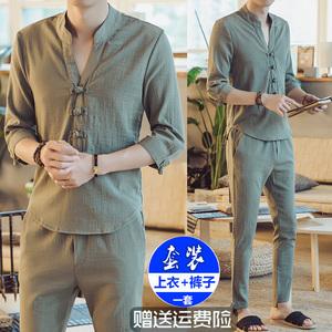 Mùa xuân và mùa hè Trung Quốc phong cách đàn ông thanh niên bông và vải lanh Trung Quốc phong cách mỏng tang phù hợp với phù hợp với hanfu hanfu cải thiện quốc gia trang phục thủy triều