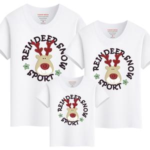 Cha mẹ và con mặc mùa hè ngắn tay t- shirt 2018 mới nai sừng tấm bông vòng cổ gia đình nhà ba- chỗ ngồi nửa- tay áo sơ mi