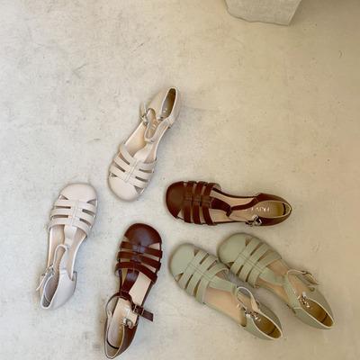 CANG温温柔柔奶油系 头层牛皮贝壳头镂空夏新罗马鞋软底低跟凉鞋
