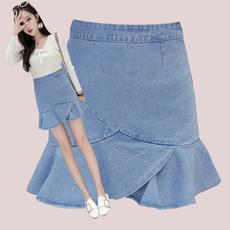 实拍春夏新款韩版高腰包臀荷叶边牛仔裙短裤裙显瘦鱼尾裙半身裙裤