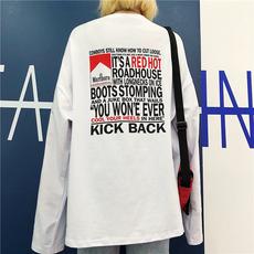 实价 18秋季韩版女装bf原宿风字母印花宽松百搭打底长袖T恤女