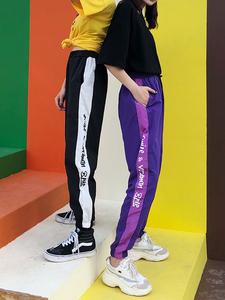 hiphop嘻哈束脚夏薄款九分休闲裤紫色运动裤女学生韩版宽松情侣潮