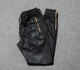 Осенью и зимой свободный харлан кожаный брюки мужчина тонкий мотоцикл ноги пакет брюки локомотив мужской случайный плюс бархат тонкая модель