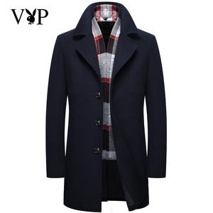 Playboy VIP mùa thu và mùa đông mô hình len áo khoác nam phần dài người đàn ông kinh doanh áo khoác mỏng áo khoác dày