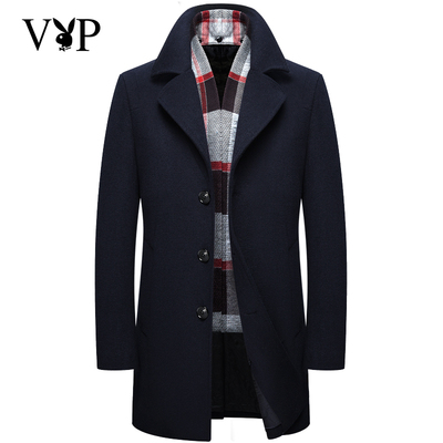 Playboy VIP mùa thu và mùa đông mô hình len áo khoác nam phần dài người đàn ông kinh doanh áo khoác mỏng áo khoác dày Áo len