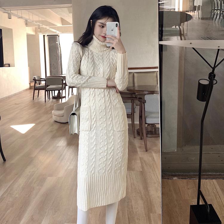 实拍 3色 复古冬季高领针织麻花连衣裙长裙后开叉