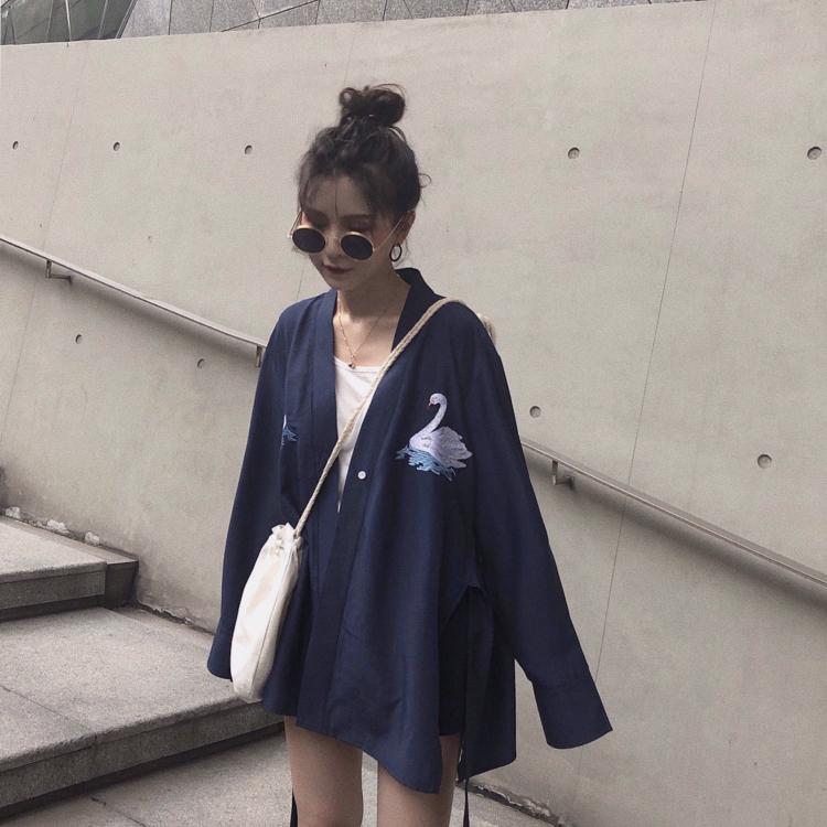 实拍 和服式长袖防晒衬衫女港味慵懒宽松刺绣复古早秋chic外套