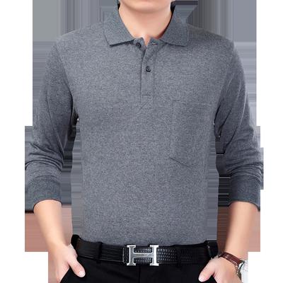 Mùa xuân trung niên nam dài tay t-shirt ve áo bông áo len trung niên cha nạp lỏng từ bi của người đàn ông áo sơ mi phần mỏng áo thun nam trung niên Áo phông dài
