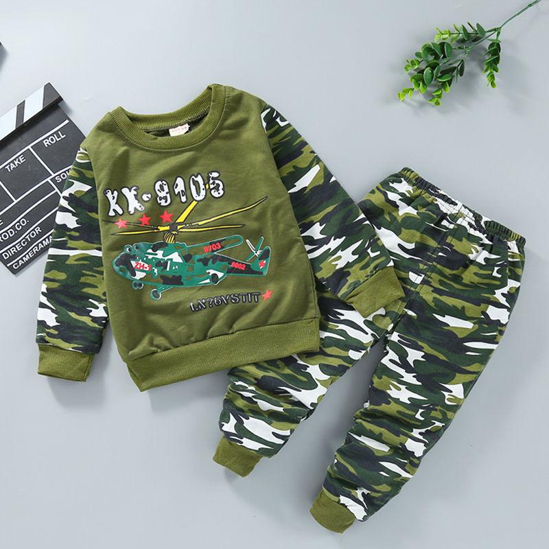 童装男童春装迷彩套装2020新款儿童男女童秋季长袖两件套迷彩服潮